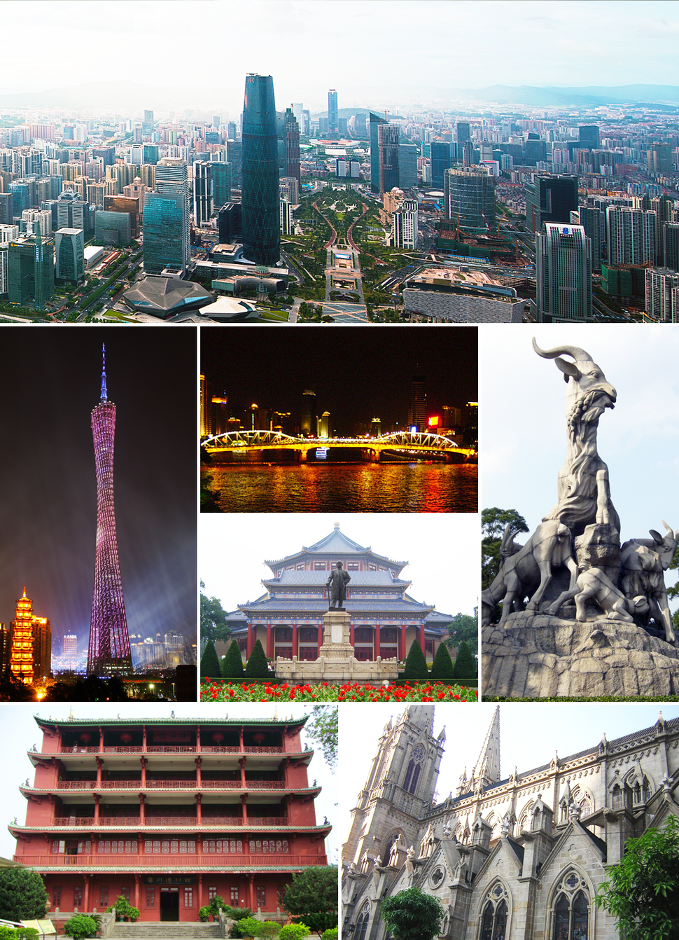 From top: Tianhe CBD, the Canton Tower and Chigang Pagoda, Haizhu Bridge, Sun Yat-sen Memorial Hall, the Five Goat Statue and Zhenhai Tower in Yuexiu Park, and Sacred Heart Cathedral.