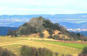 Schwalm-Eder-Kreis - The Scharfenstein, an outcrop of an extinct volcano near Gudensberg