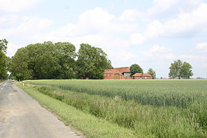 Bunde, Germany - Polder land with farm buildings.
