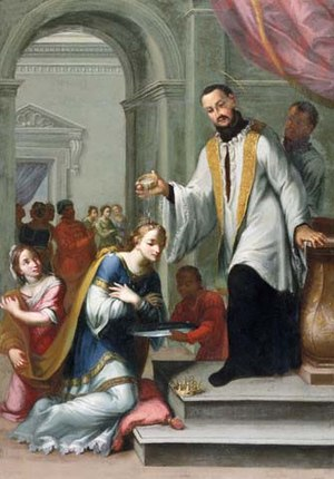Giuseppe Laudati - Saint Francis of Xavier in the Process of Baptising the Queen of Mexico, oil on canvas.