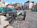 Gun, church ruin, former State House. - Kapisztrán Square, 2016 Budapest.jpg