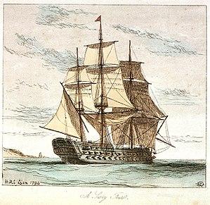HMS Lion (1777) - Image: H.M.S. Lion 1794 RMG PU5995