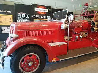 Honolulu Fire Department - Old Engine No.1, a 1938 Seagrave, was deployed to the front lines in 1941 and has shrapnel damage from the attacks on Hickam Field.  Photo by author.