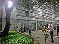 HK Sheung Wan PMQ mall Hollywood Road night courtyard tree May-2014 visitors.JPG