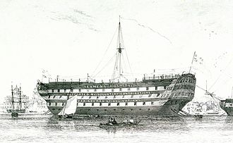 Seafarers Hospital Society - HMS Dreadnought, a lazaretto (quarantine ship) at Milford on Sea from 1827 and second of the society's ships from 1831