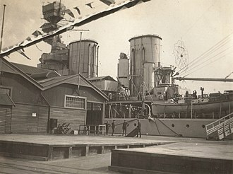 "Fremantle Harbour - HMS ''Renown'' at ""A"" Shed,  Victoria Quay, May 1927"