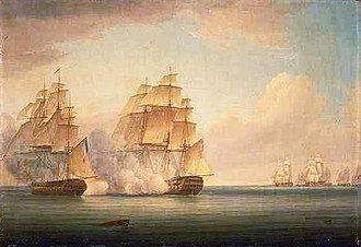 HMS Calcutta (1795) - The action of September 1805 in which the French captured HMS Calcutta, by Thomas Whitcombe