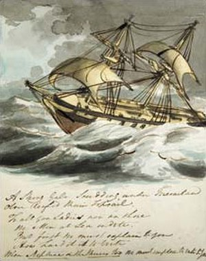 Reassertion of British sovereignty over the Falkland Islands (1833) - Sketch of a brig-sloop, probably HMS ''Clio'', by Cmdr. William Farrington, ca. 1812