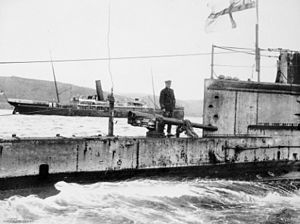 Lt-Cmdr D de B Stocks on deck after a mission  in the Dardanelles, circa. August 1915
