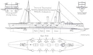 Orlando-class cruiser - Right elevation and deck plan as depicted in Brassey's naval annual 1888