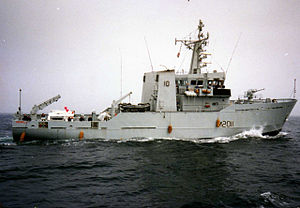 River-class minesweeper - HMS Orwell in the Bay of Biscay en route to Gibraltar, 1990