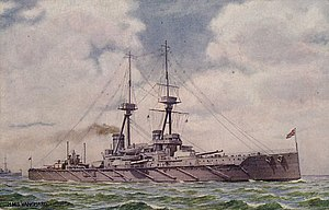 HMS Vanguard (1909) - A postcard of Vanguard at sea, about 1915