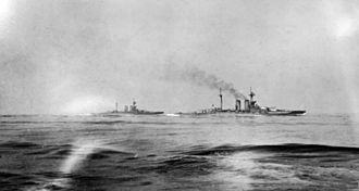 Battle of Jutland - HMS Warspite and Malaya, seen from HMS Valiant at around 14:00 hrs