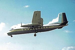 Handley Page Dart Herald - HPR.7 Herald 201 of Jersey Airlines on final approach to Manchester Airport in August 1962
