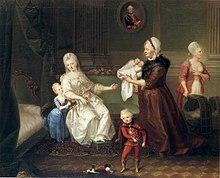 Gräfin Heydeck mit ihren und des Kurfürsten Karl Theodors Kindern (Quelle: Wikimedia)