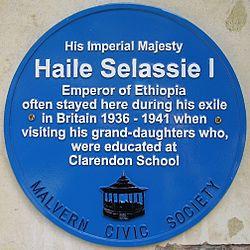 Haile selassie i blue plaque great malvern