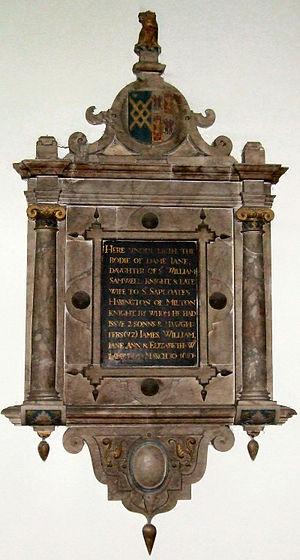 James Harrington (author) - Memorial to Harrington's mother, Dame Jane, Holy Cross Church, Milton Malsor, England.