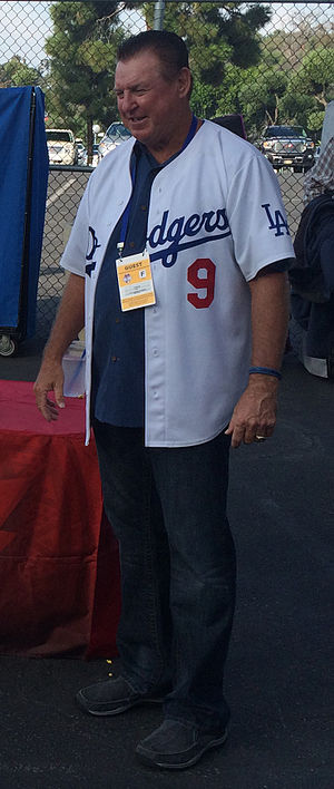 Mickey Hatcher - Mickey Hatcher poses for photo before Dodgers playoff game
