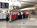 Hebei Airlines crew celebrating PKX inauguration (20190925180639).jpg