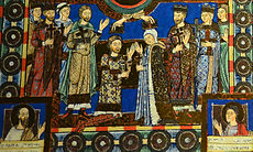 Henry the Lion (with his wife Matilda of England) is crowned as Duke of Saxony