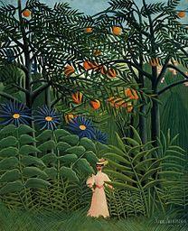 ROUSSEAU, Henri Woman Walking in an Exotic Forest 1905