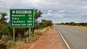 Barrier Highway - Highway sign, Yunta, South Australia