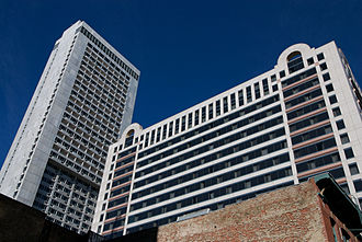 Hilton San Francisco Union Square - 1964 wing in foreground, with 1988 facade cladding, and 1971 tower in rear