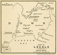 Line-drawn map of Lecale on paper.