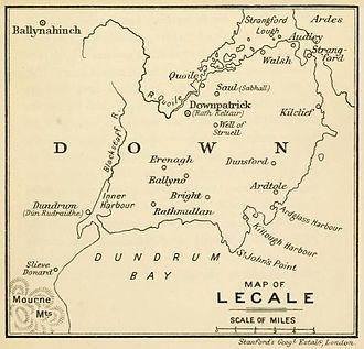 Lecale - Image: Historic map of Lecale Alice Stopford Green, 1912