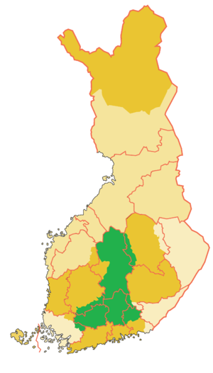 Tavastia (historical province) - Historical province of Tavastia, colored green (borders of the modern provinces in pink)