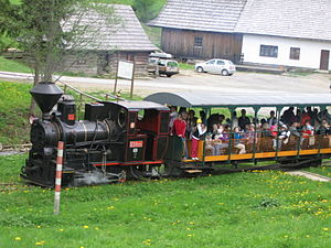 Kysuce - Steam locomotive on the switchback railway, Nová Bystrica, part Vychylovka