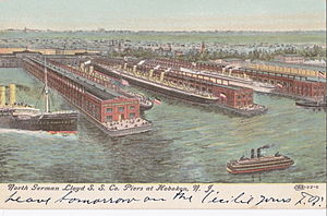 Norddeutscher Lloyd - North Germany Lloyd's docks in Hoboken, 1909