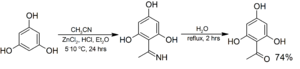 Hoesch reaction - Image: Hoesch reaction example, 1 (2,4,6 trihydroxyphenyl)eth anone from phloroglucinol
