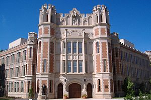 University of Oklahoma - Donald W. Reynolds Center for the Performing Arts, formerly Holmberg Hall, exemplifies the school's architectural style.