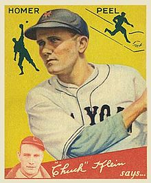 "A baseball card of a man in a white baseball jersey with ""New York"" written on the chest and a navy blue cap with an orange ""NY"" on the center having just swung his bat."