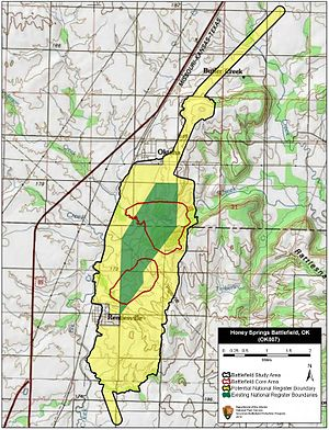 Battle of Honey Springs - Map of Honey Springs Battlefield core and study areas by the American Battlefield Protection Program.