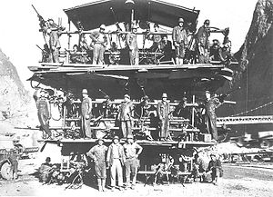 "Hoover Dam - Workers on a ""Jumbo Rig""; used for drilling Hoover Dam's tunnels"