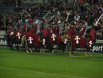 Crusaders (rugby union) - The Horsemen performing to the crowd before a match