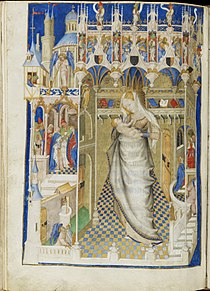 Hours of Isabella Stuart - Fitzwilliam Museum Ms62 f141v (Virgin and Child in a church).jpg