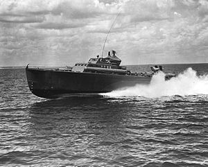 Huckins Yacht Corporation - USS PT-96, built by Huckins at Jacksonville, Florida, underway at high speed, circa 1942