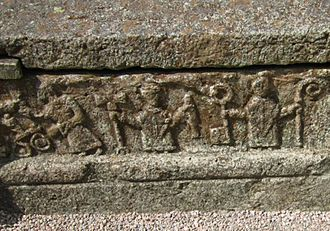 Bishop - A bishop with other officials on an 11th-century grave in Sweden.