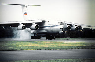 Military Transport Aviation - A Russian IL-76 transport from the Tver Military Transportation Air Base touches down at Scott AFB, Ill. on 24 October 1995. The Russians were participating in Peacekeeper '95, the first time that Russian troops trained on American soil.