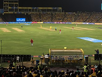 Chennai Super Kings - Chennai Super Kings playing the Kings XI Punjab in the 2018 Indian Premier League at the MCA Stadium in Pune, Maharashtra.