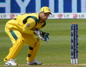 Matthew Wade - Wade wicketkeeping for Australia in 2013.