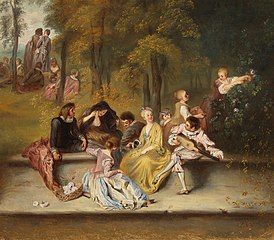 Gentlemen and Ladies on the Terrace, after detail in painting by Antoine Watteau