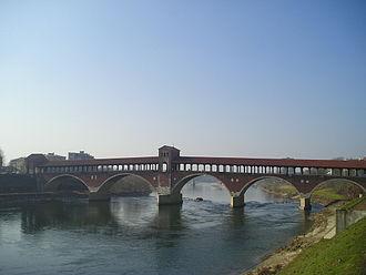 Ticinum - The Ponte Vecchio (old bridge) in Pavia