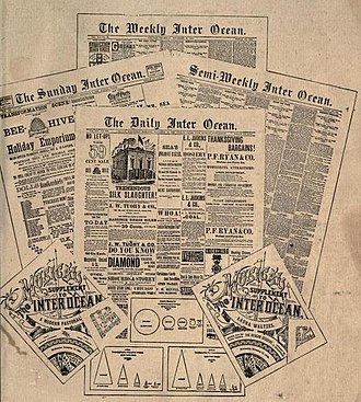 Chicago Inter Ocean - 1883 Advertisement for editions of the Inter Ocean