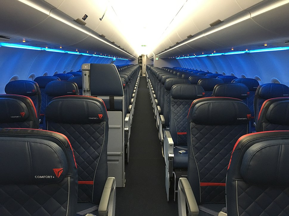 Interior of Delta Air Lines Airbus A321