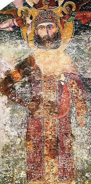 Bachkovo Monastery - A 14th-century donor portrait in fresco of Bulgarian tsar Ivan Alexander in the ossuary