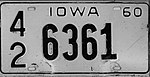 Iowa 1960 license plate - Number 42 6361.jpg